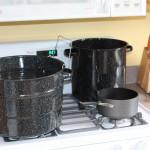 Strawberry jam canning setup on the stove