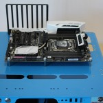 Mobo mounted on test bench