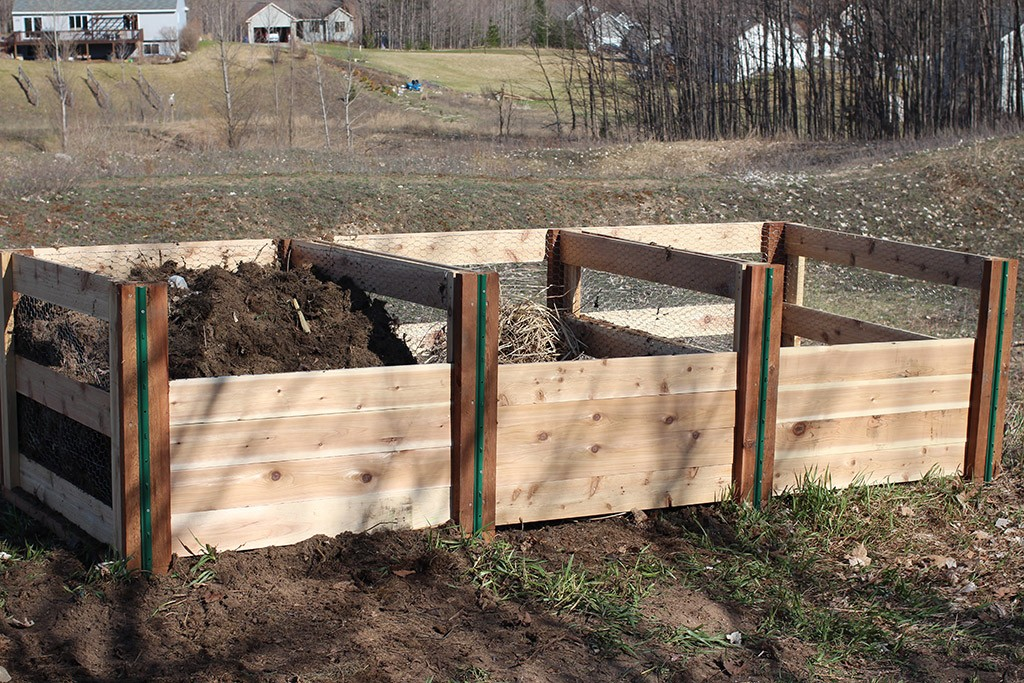 completed 3-bin composting project