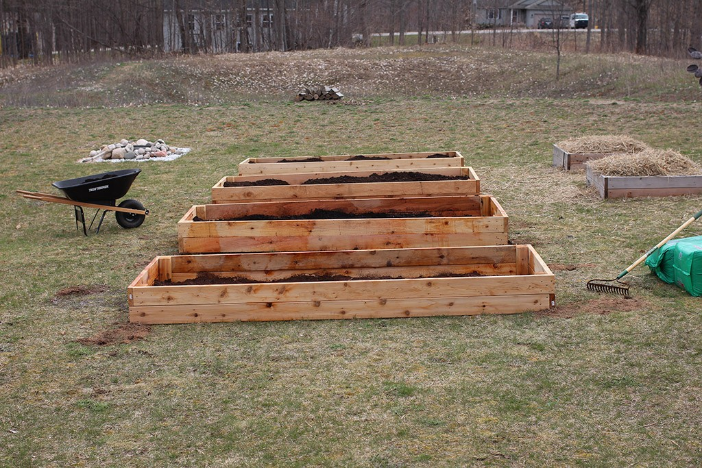 four large cedar raised garden beds