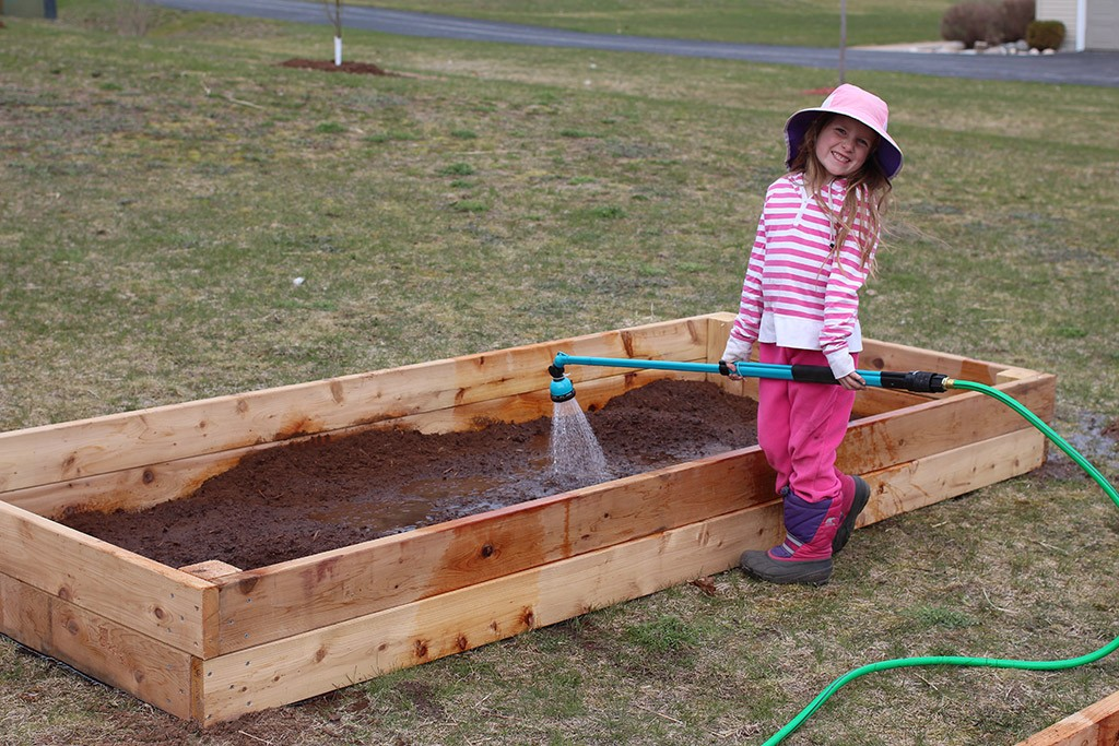 watering the garden beds