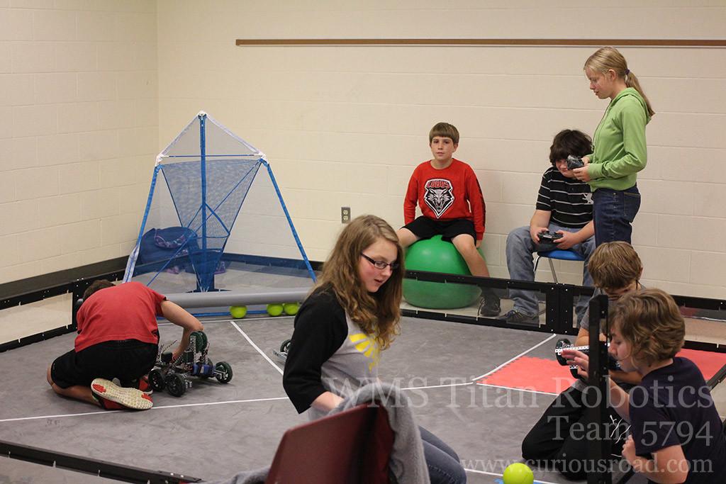 robotics club testing robots