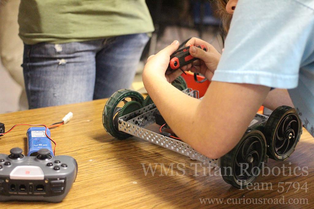Last minute repairs before the robotics matches began