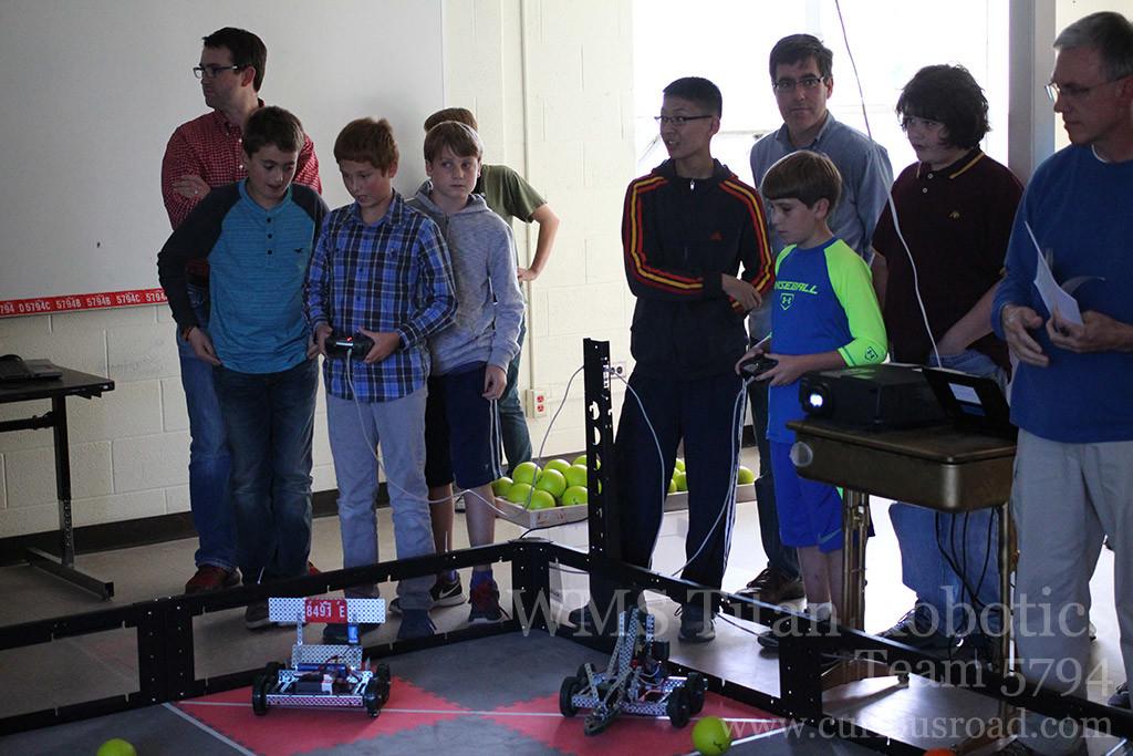 Team 5794B getting ready for their first robotics match