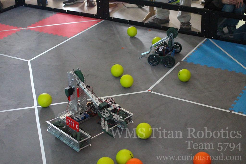 Vex EDR robotics match underway