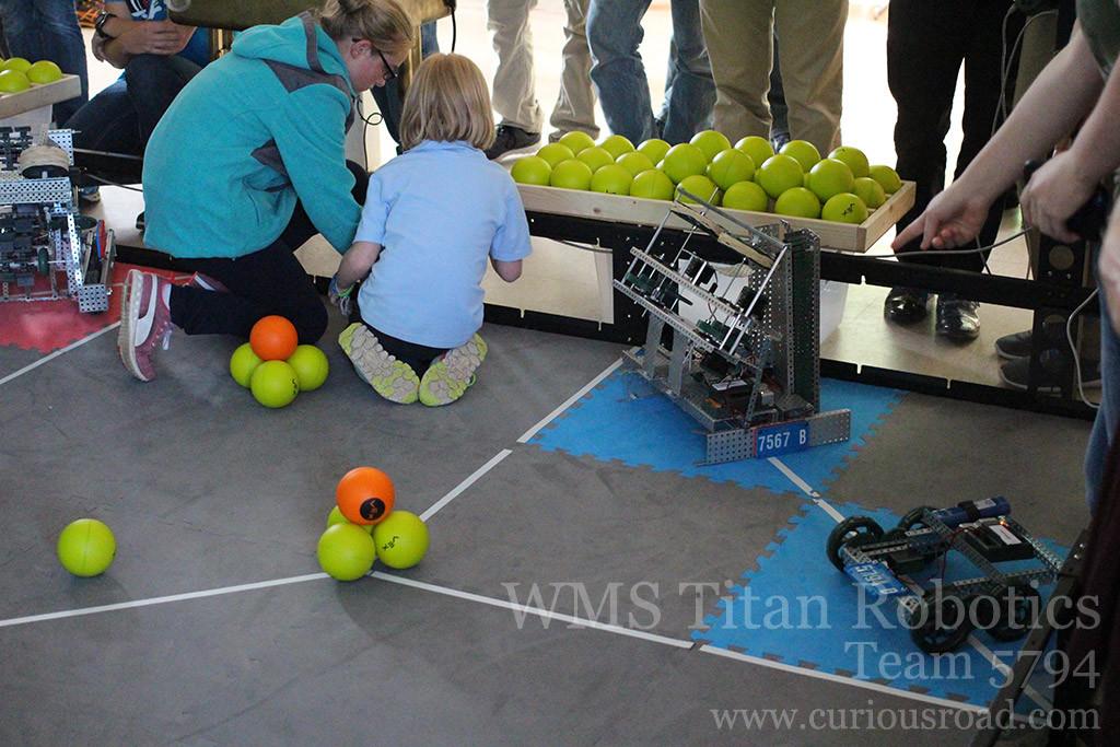 Team 5794D getting ready for their first robotics match