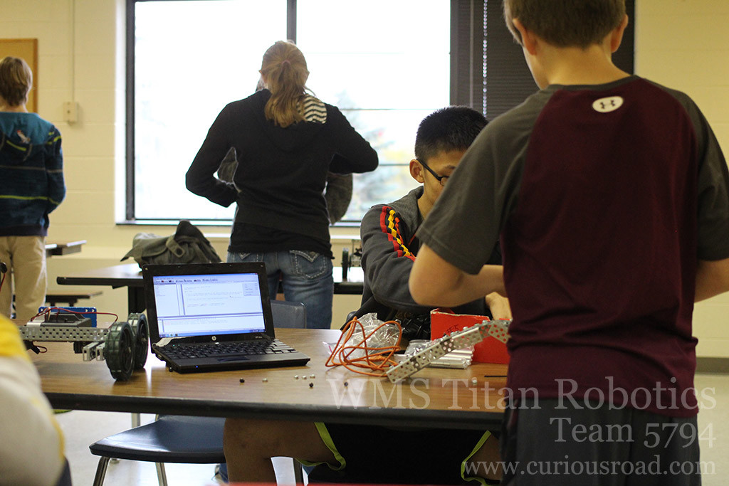 Last minute adjustments to code for robotics club team