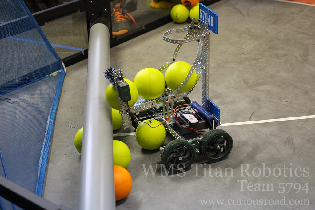 Robotics club team 5794B scoring their first autonomous point