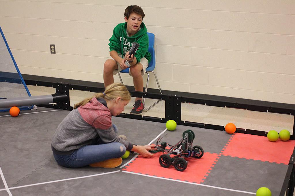 WMS robotics club members practicing