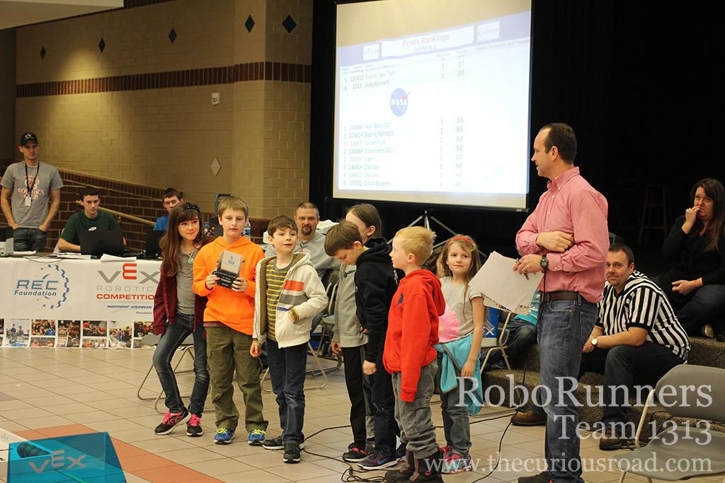 RoboRunners receiving the programming skills trophy
