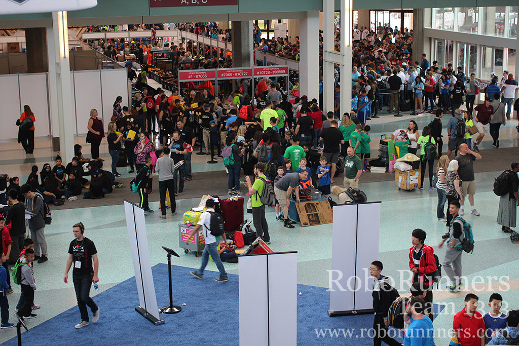 view from above of VEX Worlds check in